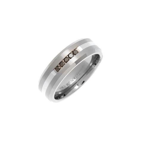 titanium and diamond polished wedding ring
