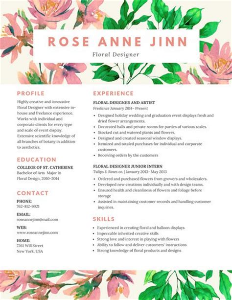 Floral Design Resume by R 233 Sum 233 Templates Canva