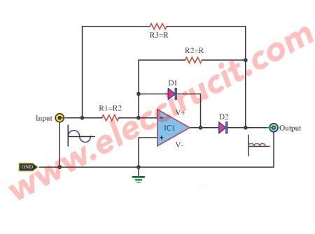 full wave rectifier   op amp ic eleccircuitcom