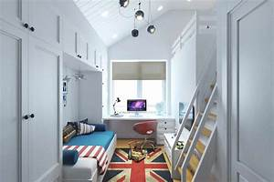 Small, Teenage, Room, Design, With, A, Second, Floor, Sleeping, Quarters