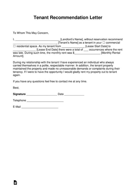 tenant recommendation letter free landlord recommendation letter for a tenant with 29047