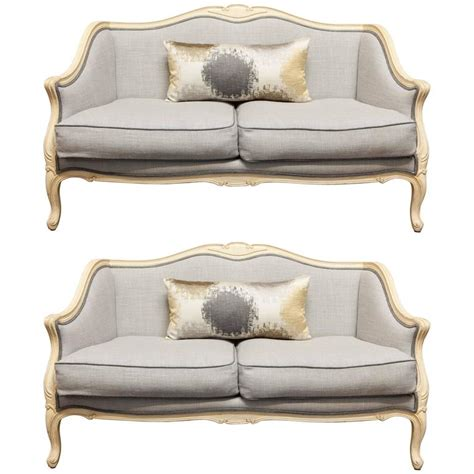 Used Settee For Sale by Pair Of Louis Xv Style Painted Settees In Organic Linen