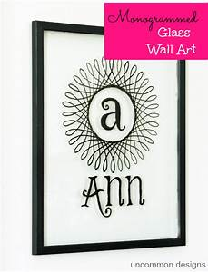 Monogrammed glass wall art using paint uncommon