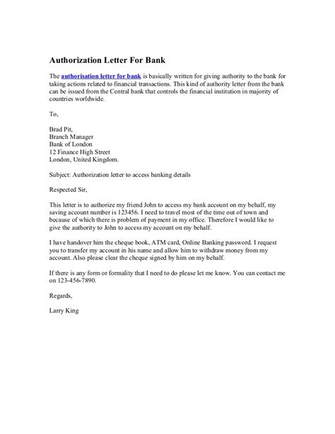 authorization letter  bank