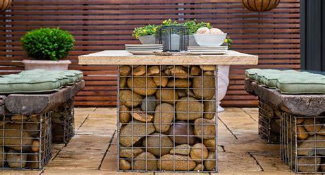 build  gabion table setting  homes  gardens