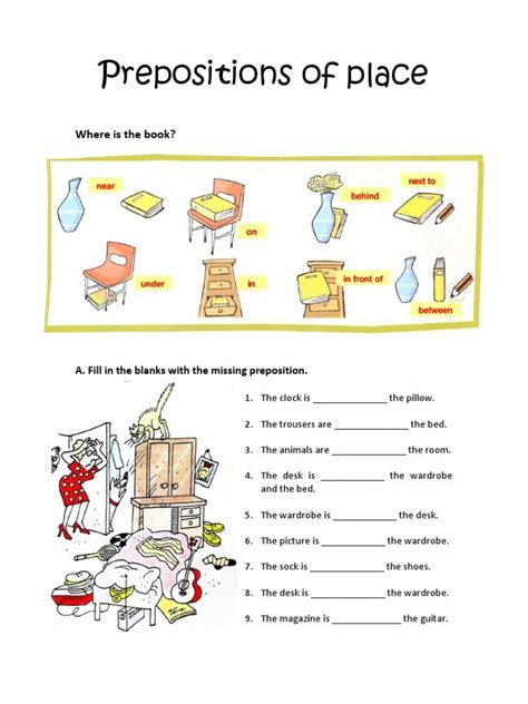 prepositions of place worksheet worksheets