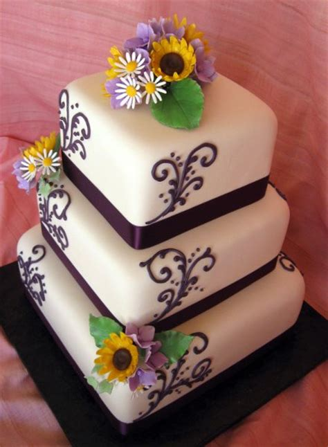 purple white yellow square wedding cakes  pictures