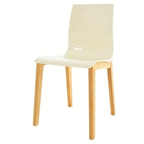 ivory white plastic dining chair with wood legs from