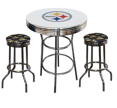 pittsburgh steelers logo metal chrome bar table glass top