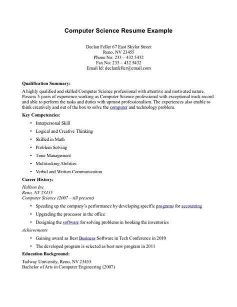 Science Resume Exles by Computer Science Resume Templates Http Topresume Info