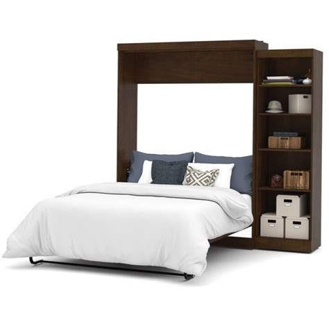 bestar pur queen wall bed with storage in chocolate 26888 69