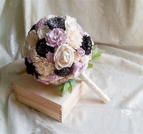 Medium Ivory Lilac Dark Grey Rustic Wedding Bouquet Sola