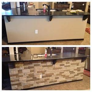 airstone durable faux stone wall installation for those With kitchen cabinets lowes with foyer wall art