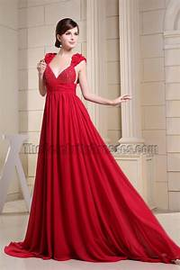 Backless Red Chiffon Formal Dress Prom Evening
