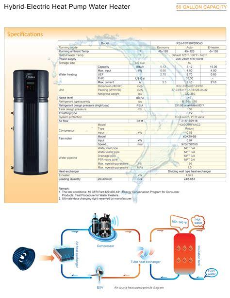 Hybrid Water Heater Diagram by Midea 50 Gallon Hybrid Electric Heat Water Heater Rsj