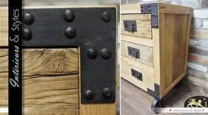 Commode Bois Et Metal : commode style industriel en bois et m tal 4 tiroirs int rieurs styles ~ Teatrodelosmanantiales.com Idées de Décoration