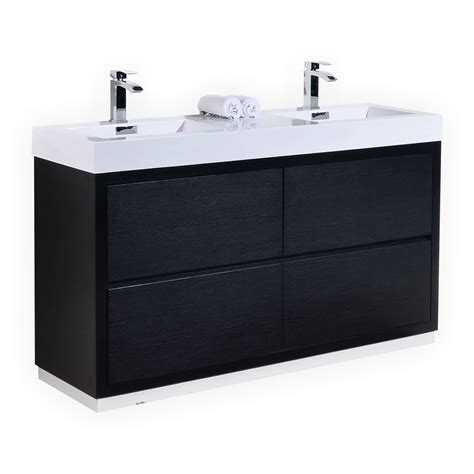Free Standing Bathroom Vanity With Sink 60 Inch Sink Black Finish Free Standing Modern