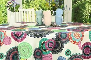 Abwaschbare Tischdecke Rund : abwaschbare tischdecke mandala lila 80 cm 200 cm rund ~ Michelbontemps.com Haus und Dekorationen