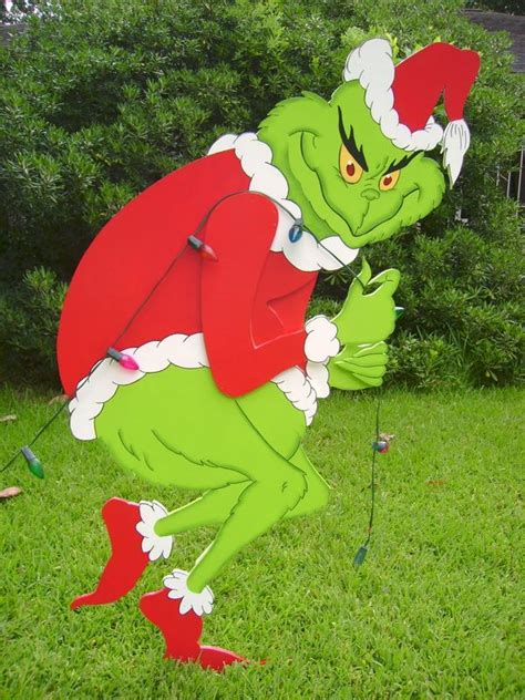 The Grinch Outdoor Decorations - this quot 3d grinch stealing lights quot stands 5 and was