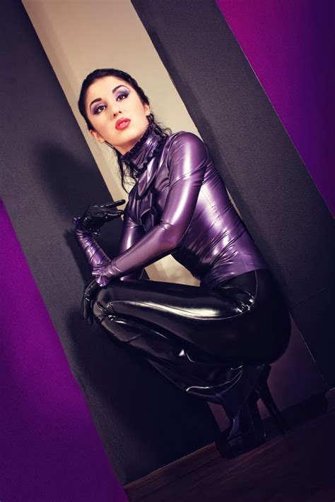 Marilyn Yusuf's Passion For Latex Classy Purple Latex Blouse