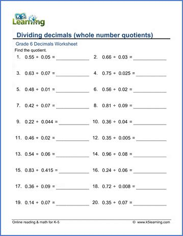 grade  division  decimals worksheets  printable