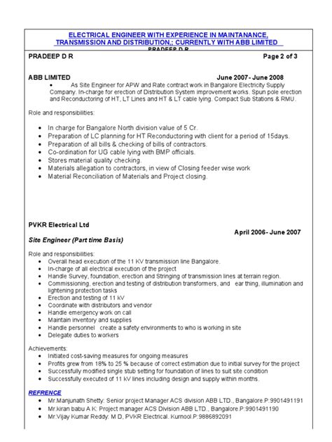34509634 experienced electrical engineer cv electrical