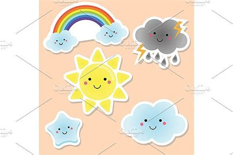 cute weather stickers kids labels cute hand drawn icons