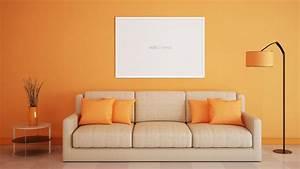 Interior sofa orange wallpaper.sc