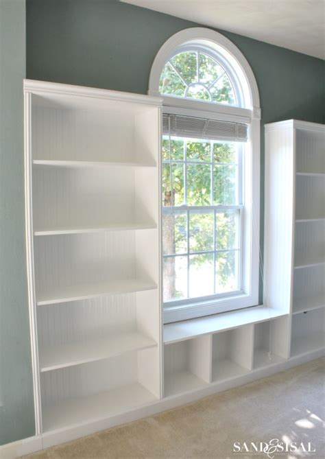 build built in bookcase diy built in bookshelves window seat sand and sisal
