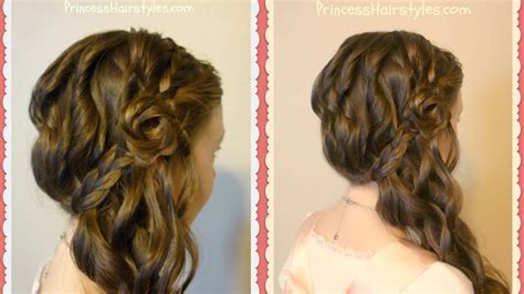 Romantic Side Swept Braided Rose Hairstyle   YouTube