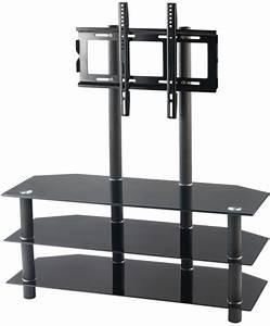 Support Verre Suspendu : meuble tv avec vesa et triple tablette en verre noir meuble tv ~ Teatrodelosmanantiales.com Idées de Décoration