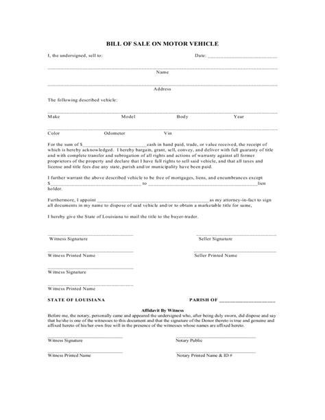 Louisiana Boat Bill Of Sale by Bill Of Sale On Motor Vehicle Louisiana Free
