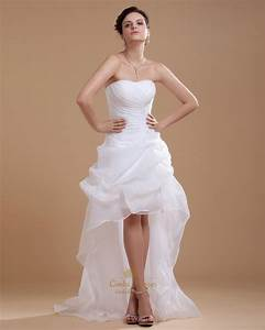 white strapless sheath high low wedding dress with pick up With robe mariée asymétrique
