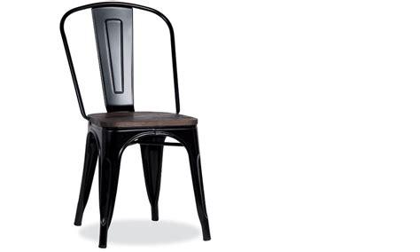 chaise noir et bois chaise industrielle en acier et bois