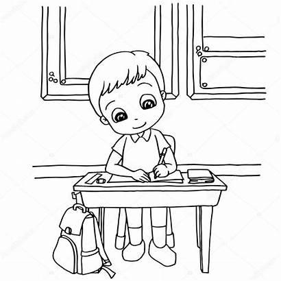 Homework Cartoon Coloring Class Vector Illustration Clipart