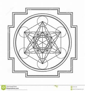 Monocrome Outline Metatron Cube Yantra Illustration Stock Vector
