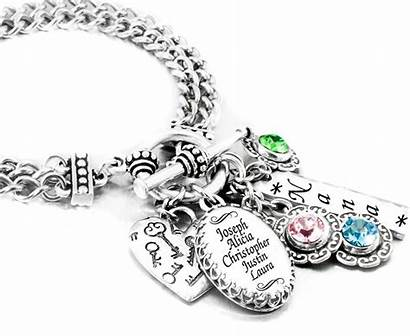 Bracelet Birthstone Jewelry Personalized Children Names Mother