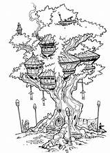 Coloring Tree Treehouse Pages Fairy Drawing Deviantart Inks Travisjhanson Adult Colouring Houses Drawings Books Printable Sheets Sketch Colorir Bird Person sketch template