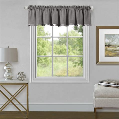 Grey Window Valances by Achim Wallace 14 In L Polyester Valance In Grey