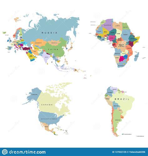 Territorium Av Kontinenter - Europa USA Kanada Afrika ...