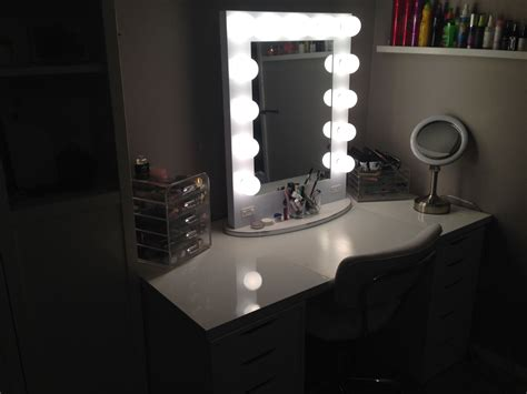 broadway lighted vanity mirror my vanity just missing the brushes ikea linnmon table