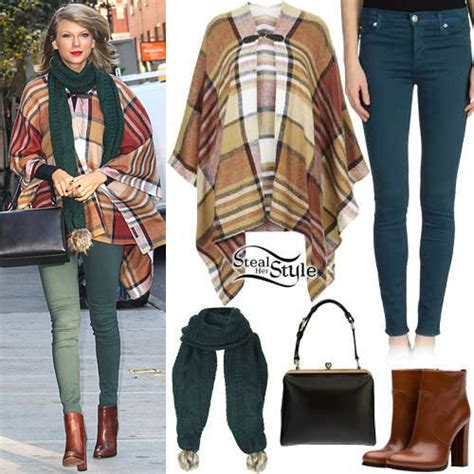 Taylor Swift Checked Cape, Cable Scarf  Steal Her Style