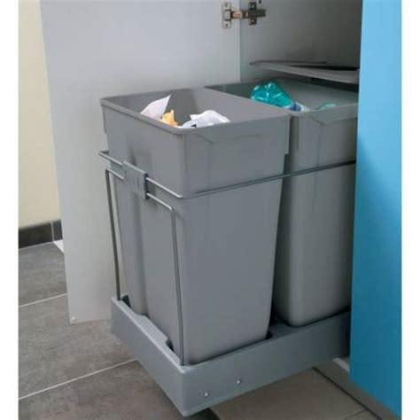 poubelle tiroir cuisine poubelle tiroir tri selectif 2 bacs 70l accessoires de
