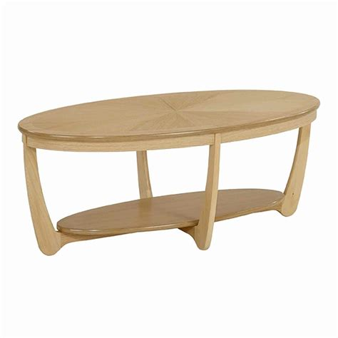 oval coffee table nathan shades in oak sunburst top oval coffee table