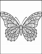 Butterfly Coloring Pages Zentangle Butterflies Printable Moth Sheets Drawing Printables Mandala Colouring Supercoloring Adults Patterns Adult Animals Pattern Above Credit sketch template