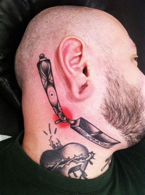 school kopf kinn rasiermesser tattoo von sarah  bolen