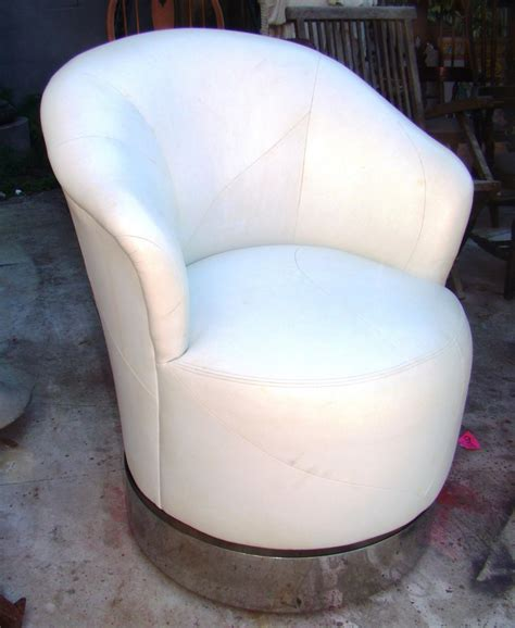 j robert pair leather 80 s swivel club chairs
