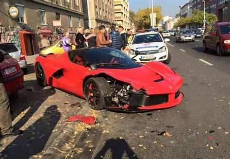 laferrari crash laferrari crashes into row of parked cars in hungary