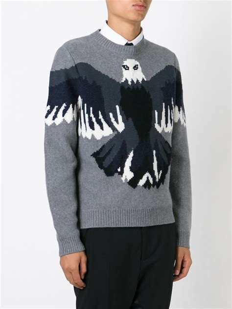 eagle sweater lyst valentino eagle intarsia sweater in gray for