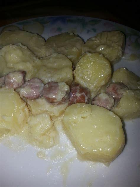 pomme de terre aux saucisses 224 la cr 232 me de roquefort